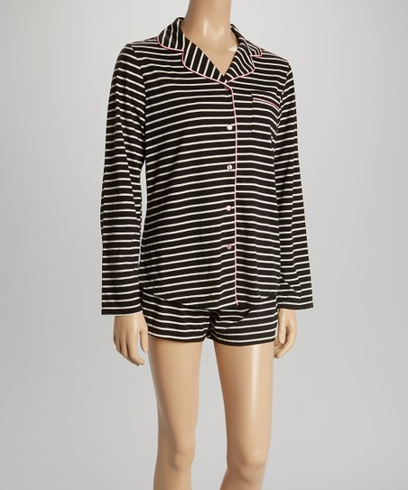 love this product Black   White Stripe Button-Up   Shorts Pajama Set - Women a5ca99c31