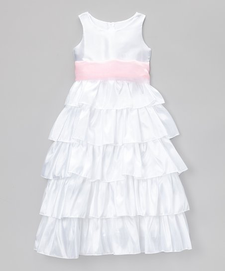 542f34b9075 Cinderella Couture White   Pink Tiered Bow Dress - Toddler   Girls ...