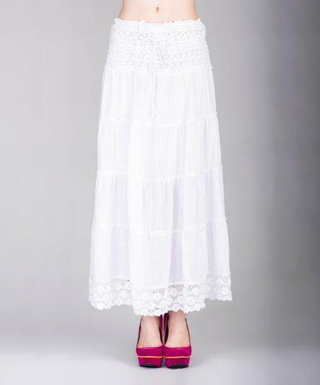 b795e7e7a V.O. Jeans White Tiered Lace Maxi Skirt - Women | Zulily