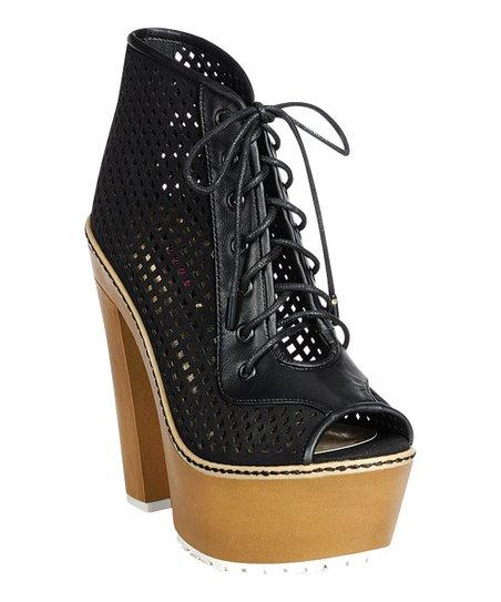 6fe50c308a Dollhouse Black Component Peep-Toe Bootie - Women | Zulily