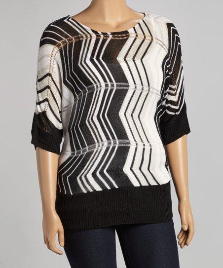 1935b3233de love this product Black   White Zigzag Cape-Sleeve Sweater - Plus