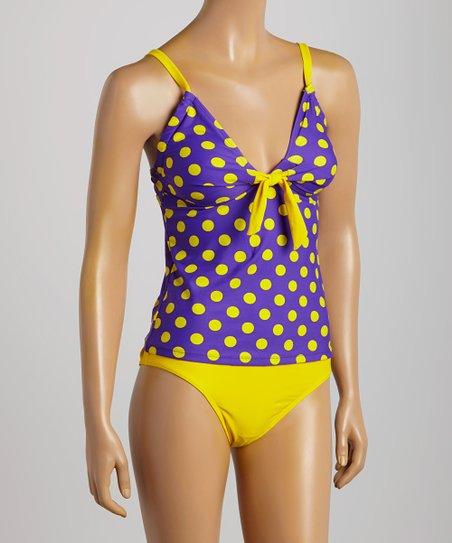 ef436b5a29 Swimsuit Station Purple & Yellow Polka Dot Tankini - Women | Zulily