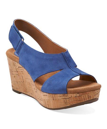 15969340b25 Clarks Blue Caslynn Lizzie Nubuck Leather Wedge