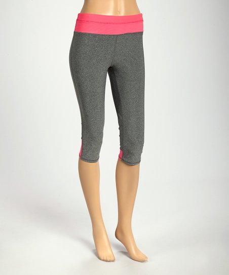 8c862bc2fb944 VOGO Heather Charcoal & Pink Yoga Pants | Zulily