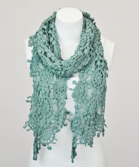 Leto Collection Teal Crochet Lace Scarf Zulily