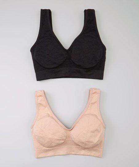 a07e3c6a56bd7 Laura Ashley® Naked   Black Soft-Cup Wireless Plunge Bra Set - Women ...