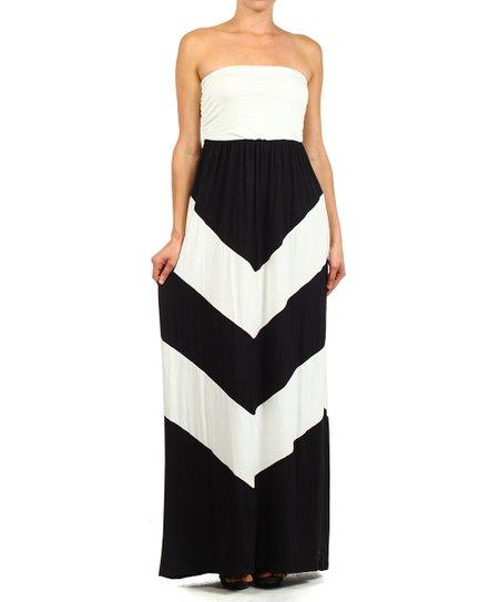 178bc07787e4 J-Mode USA Los Angeles Black & White Chevron Strapless Maxi Dress ...