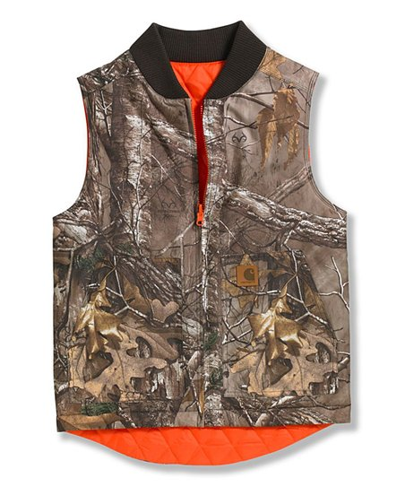b99dcada9199c Carhartt Dark Brown Camo & Orange Reversible Vest - Boys | Zulily