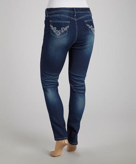 c3efb8c1d34 be-girl Dark Indigo Sparkle Skinny Jeans - Plus