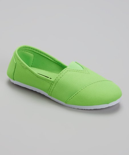 Blue Suede Shoes Neon Green Slip-On