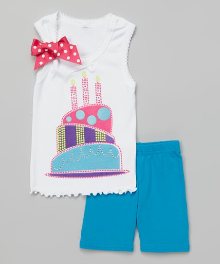 07900bf861c20 love this product White Three Candle Cake Tank & Blue Shorts - Toddler &  Girls