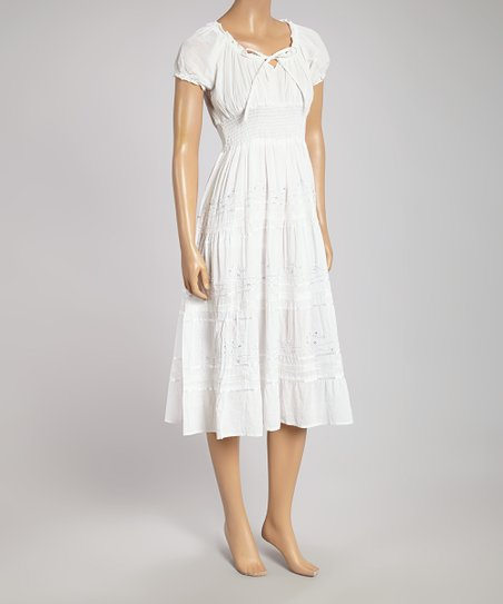 2695a55f939 Lebaz White Peasant Dress