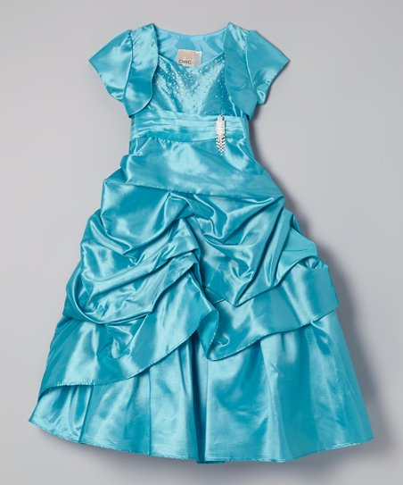 b1f175b66 Chic Baby Turquoise Sparkle Gathered Satin Dress   Shrug - Toddler ...