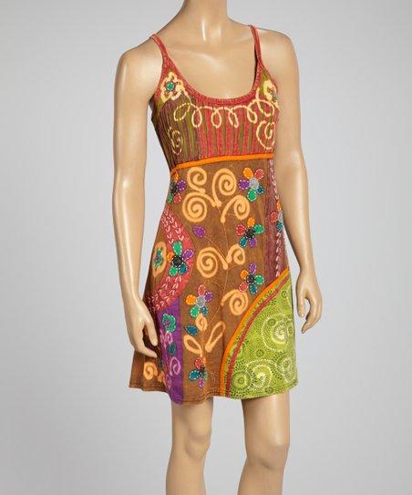 Royal Handicrafts Brown Red Swirl Patchwork Empire Waist Dress