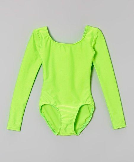 854f1d3148af Mondor Neon Lime Long-Sleeve Leotard - Toddler   Girls
