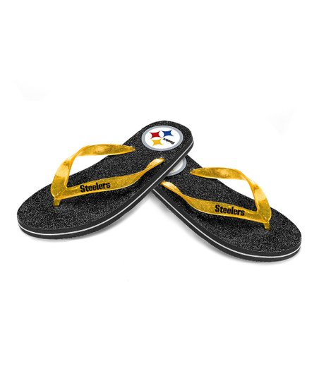 614816d3dbd42 Forever Collectibles Black Pittsburgh Steelers Glitter Flip-Flop - Women