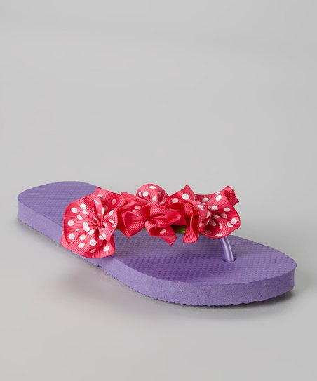 450c40975 love this product Purple Polka Dot Ribbon Flip-Flop   Hair Bow