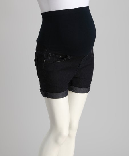 fc7265b2b love this product Bella Vida Dark Blue Over-Belly Maternity Shorts
