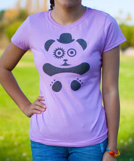 ae07ac3aa love this product Lilac & Black Panda Tee - Girls
