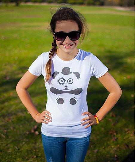 ab3796d5e love this product White & Black Panda Tee - Girls