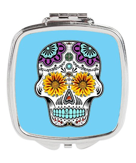 Turquoise Sugar Skull Compact Mirror, Sugar Skull Compact Mirror
