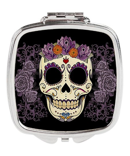 Black Purple Fl Sugar Skull, Sugar Skull Compact Mirror