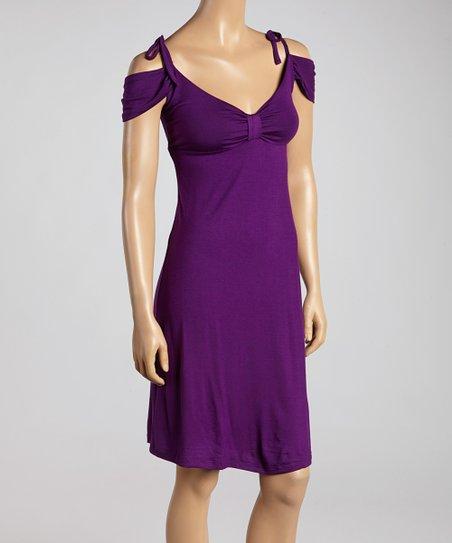 1c19babf8369 love this product Purple Off-Shoulder Tie Dress