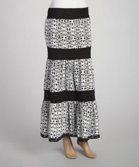 870fddd2f6 Mix Nouveau Black & White Kaleidoscope Maxi Skirt | Zulily