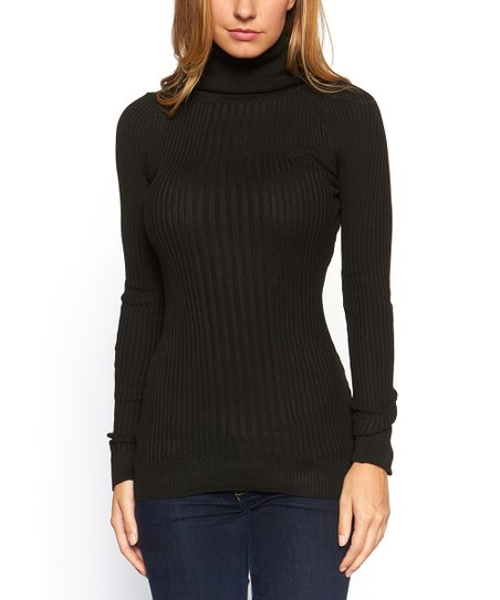 2fc815c8fab3 Icy Fashion Black Ribbed Turtleneck Sweater - Women