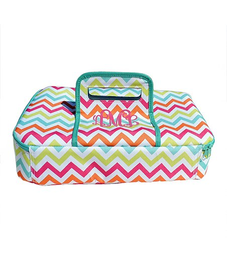 The Navy Knot Pink Zigzag Monogram Insulated Casserole Carrier