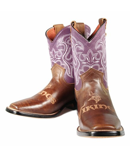 Old Pro Leather Goods Co  Minnesota Vikings Cowboy Boots - Kids