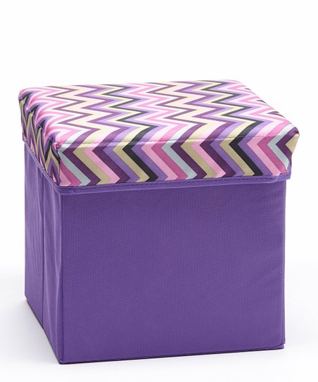 Astonishing Home Basics Pink Purple Zigzag Small Storage Ottoman Ocoug Best Dining Table And Chair Ideas Images Ocougorg