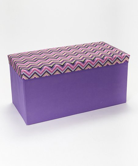 Superb Home Basics Pink Purple Zigzag Large Storage Ottoman Zulily Ocoug Best Dining Table And Chair Ideas Images Ocougorg