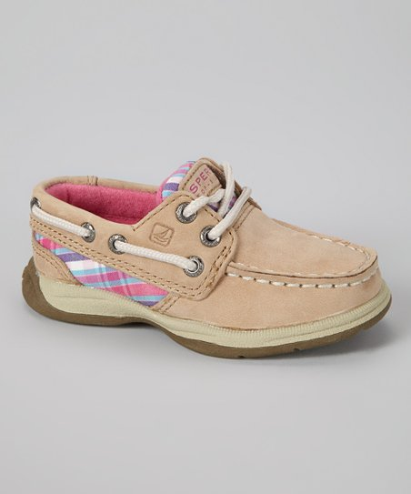 Pink Plaid Intrepid Leather Boat Shoe