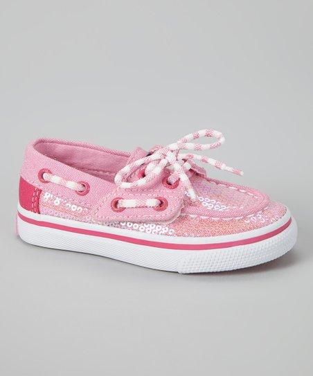 Sperry Top Sider Pink Sequin Bahama Jr. Boat Shoe