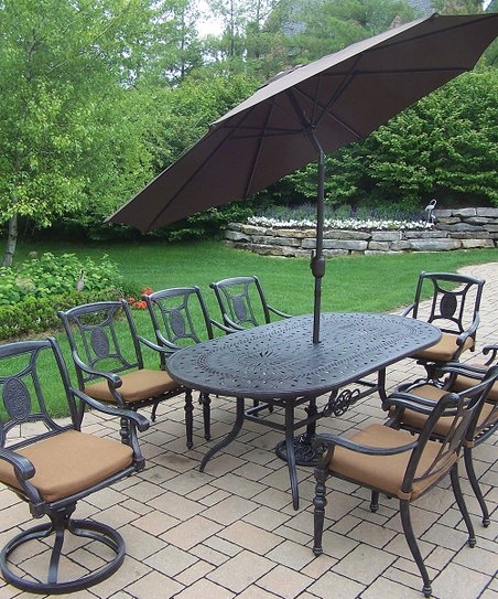 Oakland Living Aged Finish Victoria 11 Piece Outdoor Dining Set Zulily