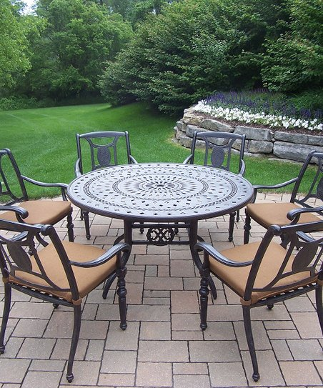 Oakland Living Aged Finish Victoria Seven Piece Outdoor Dining Set