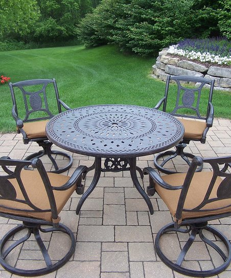 Oakland Living Aged Finish Victoria Five Piece Outdoor Dining Set