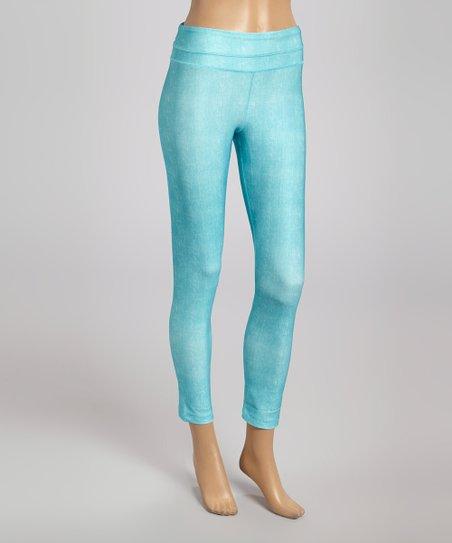 2bb93c3f1dd10 90 Degree by Reflex Light Turquoise Denim-Look Yoga Leggings | Zulily