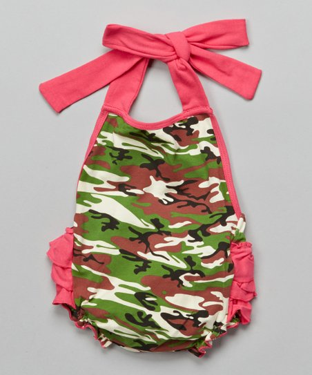 312379761640 Under The Hooded Towels Camo   Hot Pink Halter Bubble Romper ...