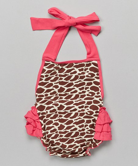 e1ff44573be2 Under The Hooded Towels Hot Pink Giraffe Bubble Romper - Infant