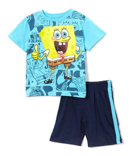72d45503e Childrens Apparel Network Turquoise SpongeBob Tee & Navy Shorts ...