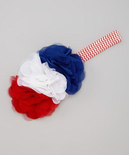 21b546fd39f7 Miss Fancy Pants Red   Blue Tulle Flower Headband