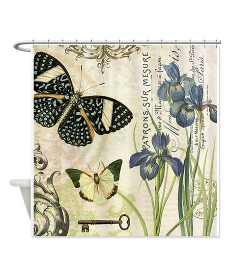 Modern Vintage French Butterfly Iris Shower Curtain