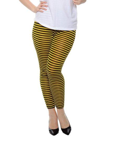 f81d98766dfe1 True Rock Yellow & Black Horizontal Stripe Leggings - Plus | Zulily