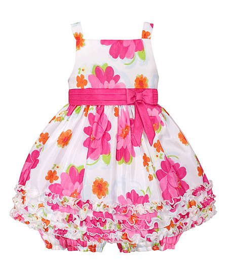 a985999e love this product White & Pink Floral Ruffle Dress & Bloomers