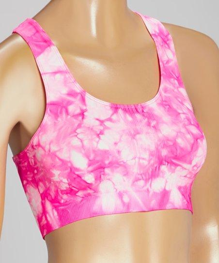 4ec1100857b6e love this product Pink Tie-Dye Seamless Racerback Sports Bra - Women   Plus