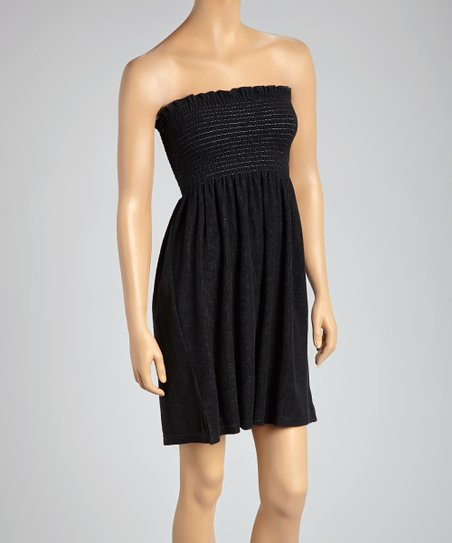 b2fdbaf52f love this product Black Smocked Terrycloth Strapless Cover-Up - Women & Plus