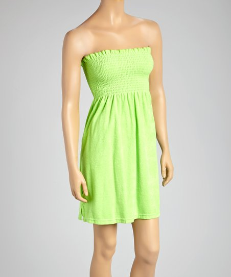 ae60436a61 love this product Lime Smocked Terrycloth Strapless Cover-Up - Women & Plus