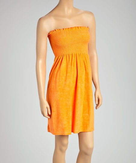 6e453c6d882fe love this product Orange Smocked Terrycloth Strapless Cover-Up - Women &  Plus